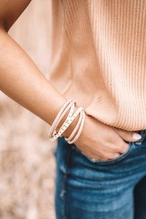 sku19639   Cork And Leather Studded Bracelet