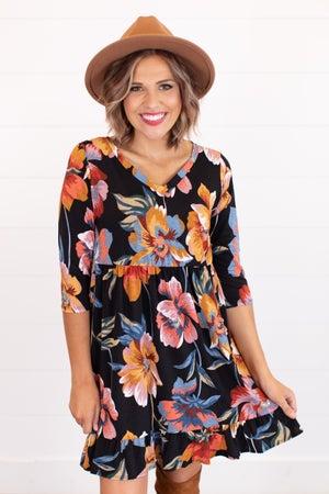 sku16702 | Floral Ruffle Hem Dress