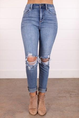 sku17110 | High Rise Distressed Knee Knee Skinny Jean