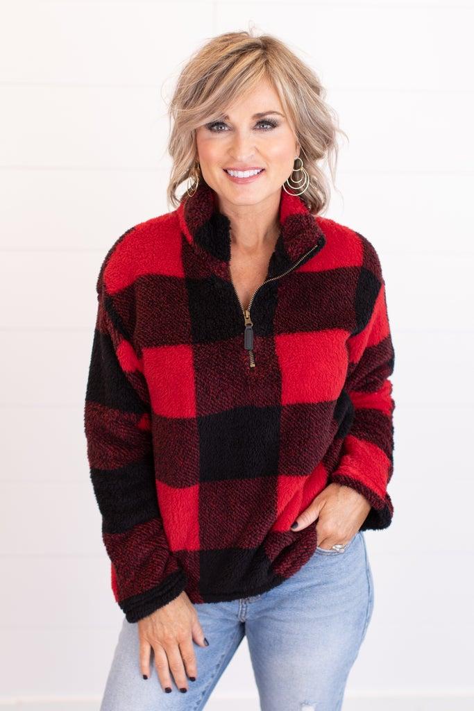 sku16666 | Buffalo Plaid Quarter Zip Pullover