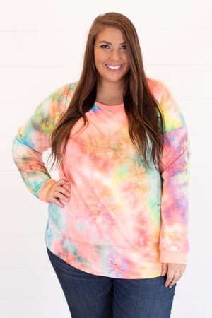 sku15934 | Tie Dyed Exposed Stitch Top