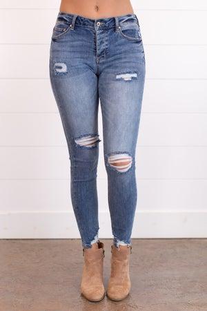 sku17484   Mid Rise Distressed Skinny Jean