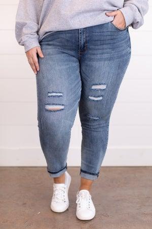 sku17479 | Mid Rise Distressed Skinny Jean