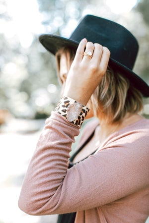 sku15783 | Wide Animal Leather And Druzy Bracelet
