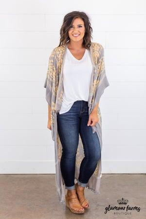 sku14957 | Damask Print Duster Kimono
