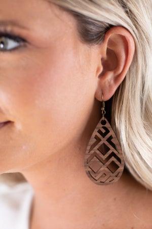 sku15765 | Aztec Wood Earrings