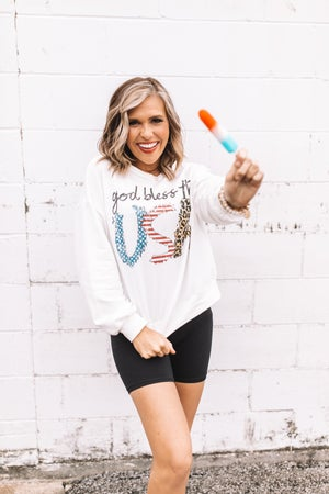 sku21082 | God Bless The USA Graphic Sweatshirt
