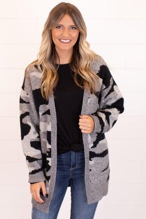 sku17036 | Camo Sweater Cardigan
