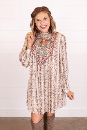 sku17571 | Embroidered Animal Print Dress