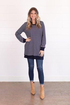 sku14347 | Striped Side Pocket Tunic Dress