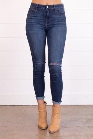 sku17917 | High Rise Destroyed Knee Skinny Jean