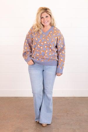 sku15956   Animal Print V-Neck Sweater