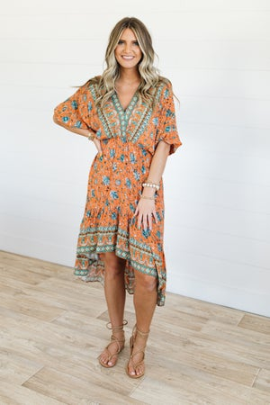 sku20848 | Paisley Hi-Lo Midi Dress