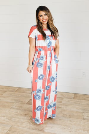 sku21396 | **Daily Deal** Mixed Print Maxi Dress