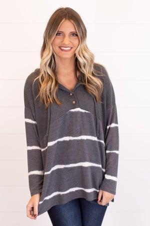 sku17749 | Tie Dyed Striped Tunic