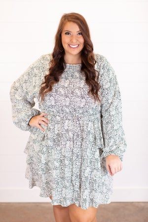 sku17215 | Ditzy Dot Tiered Dress