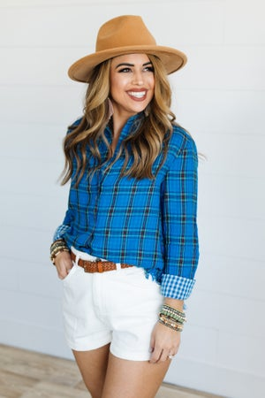 sku19778 | **Daily Deal** Plaid Frayed Hem Top
