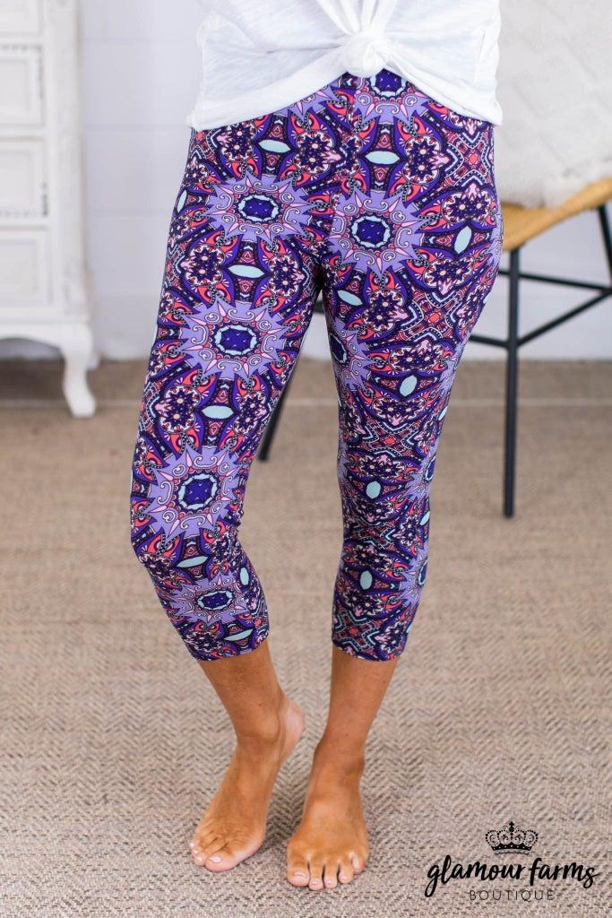 sku13775 | **Daily Deal** Floral Abstract Capri Leggings