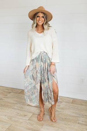 sku20572   Pleated Paisley Midi Skirt
