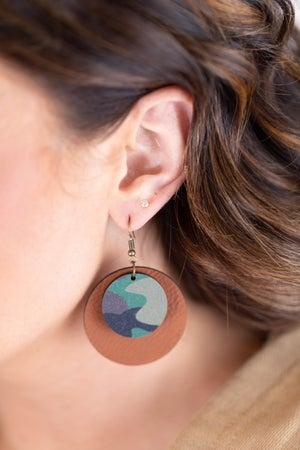 sku17792 | Wood And Leather Camo Earrings