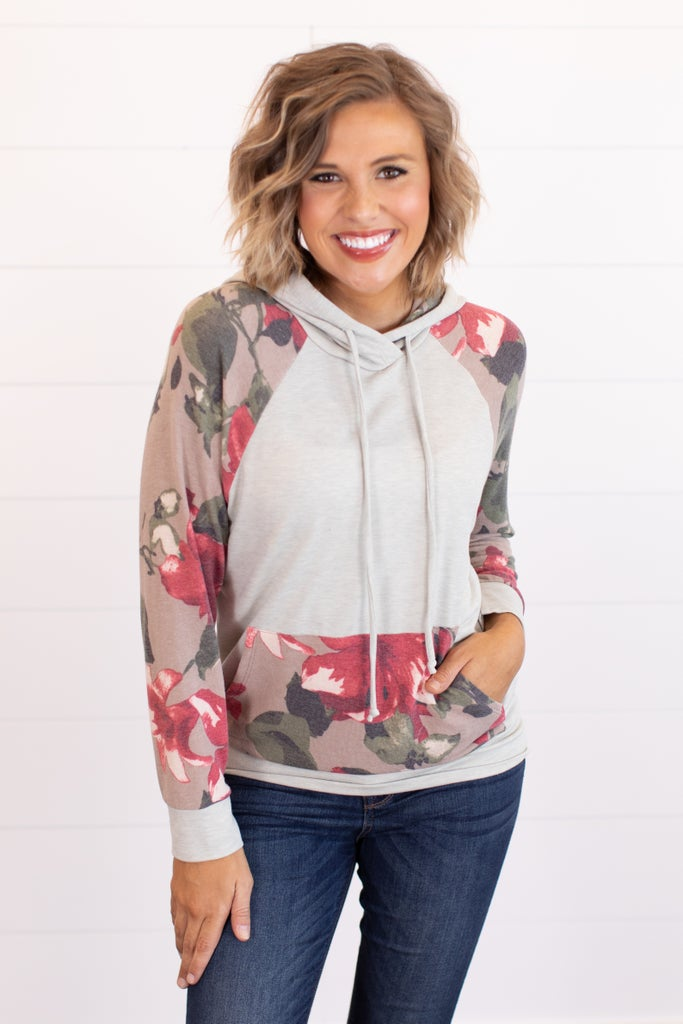 sku16128 | Floral Sleeve Hooded Top