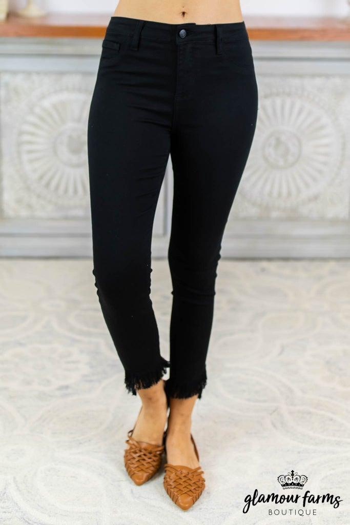 sku8342 | Fray Hi-Lo Hem Skinny Jean