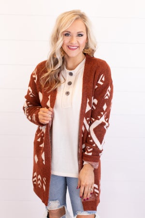 sku17720 | Aztec Print Sweater Cardigan