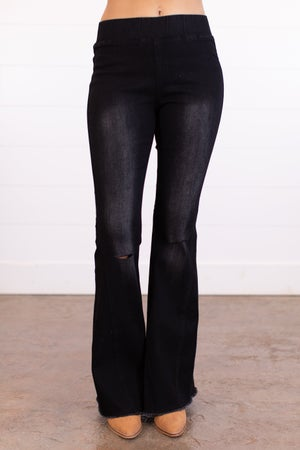 sku13178 | Distressed Pull-On Flared Jeans