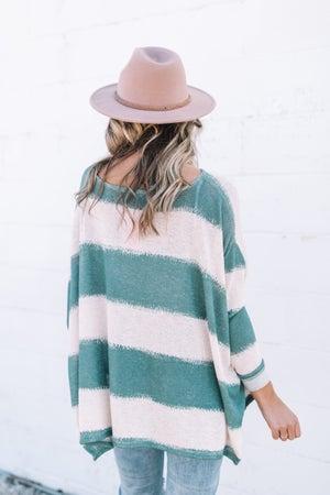 sku17736 | Striped Knit Poncho Top