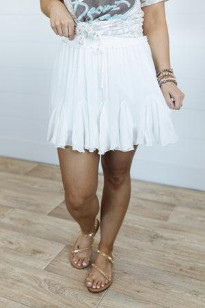 sku20663   **Daily Deal** Swiss Dot Drawstring Skirt