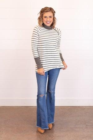 sku17408 | Striped Crossover Zip Tunic