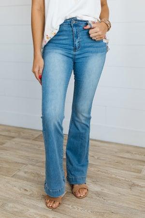 sku19771   Elastic Waist Flared Jeans