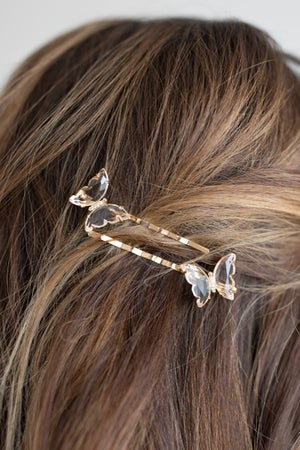 sku18603   2 pc Crystal Butterfly Hairpin Set