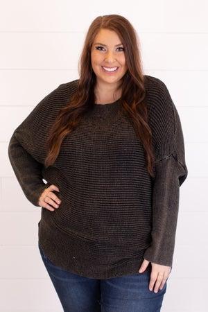 sku17226 | Washed Ribbed Knit Sweater