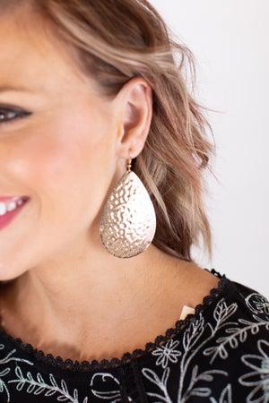 sku17013 | Filigree Hammered Teardrop Earrings