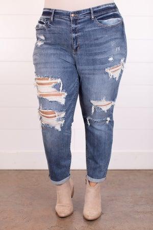 sku18061 | Destroyed Mid Rise Boyfriend Jeans