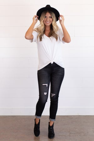 sku15249 | Distressed 3-Button Skinny Jean
