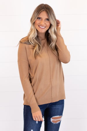 sku16018   Front Seam Turtleneck Sweater