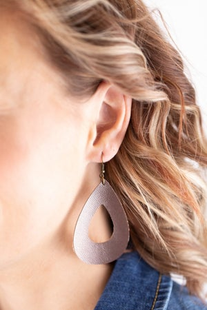 sku17803 | Faux Leather Teardrop Earrings