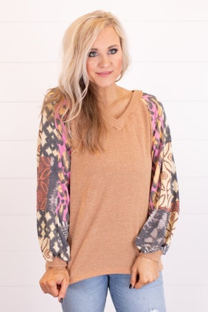 sku16960 | Mixed Print Sleeve Top