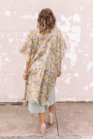 sku21325 | Tropical Print Tassel Kimono