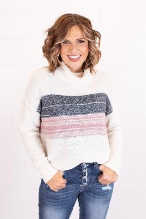 sku16529 | Color Block Turtleneck Sweater