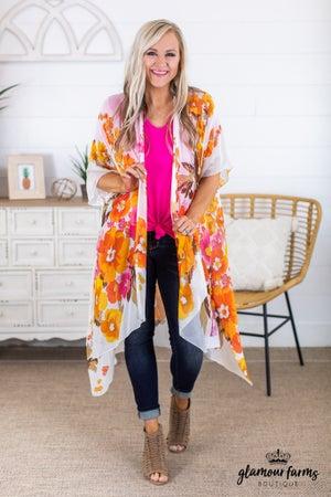 sku14954 | Poppy Hi-Lo Kimono