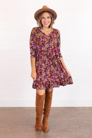 sku16701 | Floral Ruffle Hem Dress