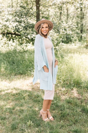 sku21050 | Open Knit Kimono Sleeve Cardigan