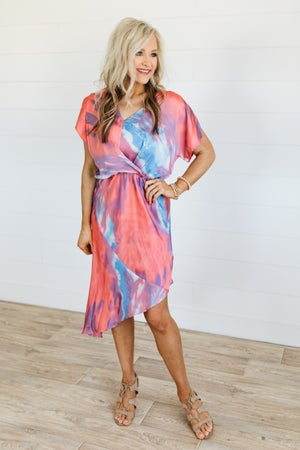 sku19788 | **Daily Deal** Tie Dyed Asymmetrical Dress