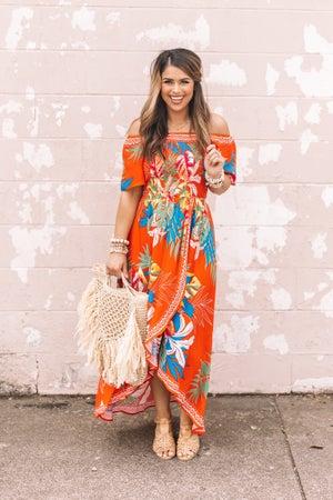 sku21004 | Floral Off Shoulder Midi Dress