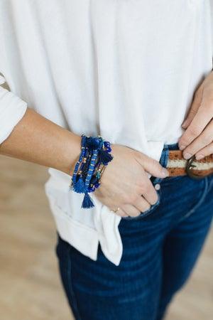 sku20769   Multi Bead Tassel And Charm Bracelet Set