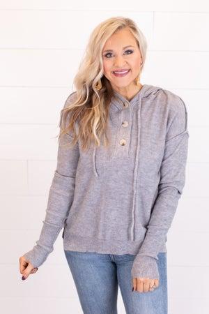 sku17513   Drawstring Hooded Sweater