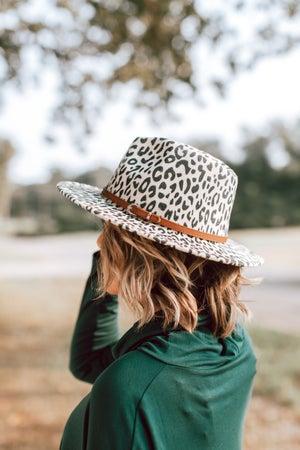 sku16236 | Animal Print Belted Fedora Hat